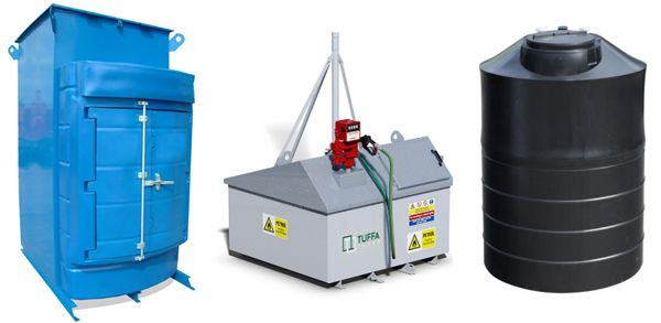 Adblue, Waste oil, Petrol and water storage tanks